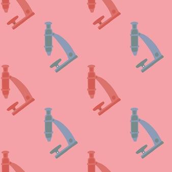 Розовый и синий абстрактный бесшовные модели микроскопа.
