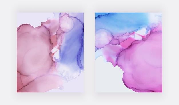 ピンクとブルーのアルコールインクの水彩テクスチャの背景。