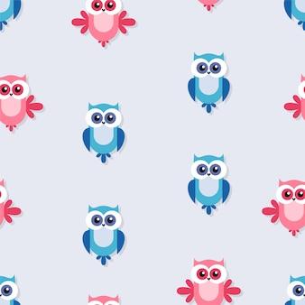 ピンクとブルーの鳥のシームレスパターン