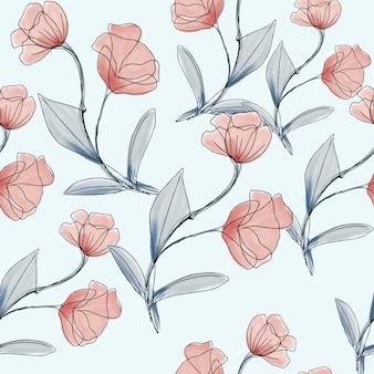 ピンクと青の枝のシームレスパターン