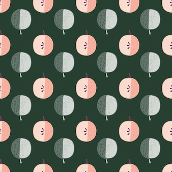 Розовые и синие цветные яблоки орнамент бесшовные модели.