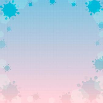 분홍색과 파란색 코로나 바이러스 액자 배경