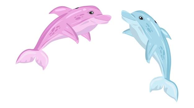 Иллюстрации шаржа розовый и синий дельфин на белом фоне милые дельфины