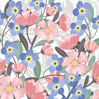 ピンクとブルーの花柄と葉のパターン。