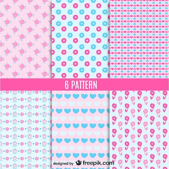 Pink and blue floral seamless pattern
