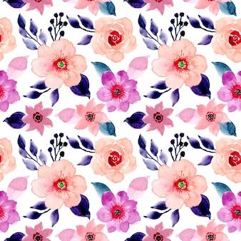 Розовый и голубой цветочные акварели бесшовный фон