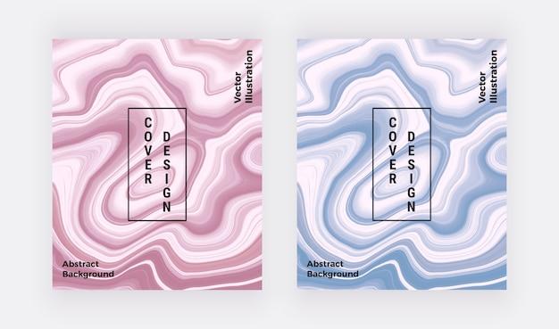 ピンクとブルーの液体大理石のテクスチャ。カバー水墨画