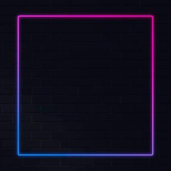 Розово-синяя неоновая рамка неоновая рамка на темном фоне