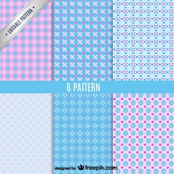 Pink and blue seamless pattern pack