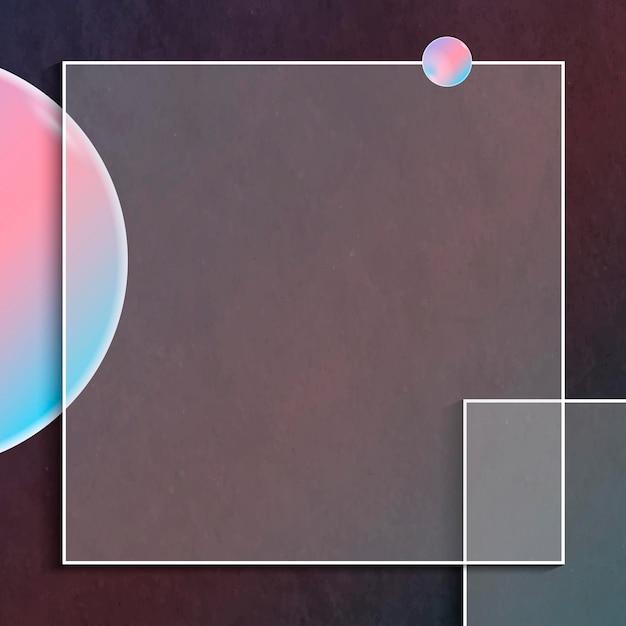 ピンクとブルーの正方形のフレームデザイン
