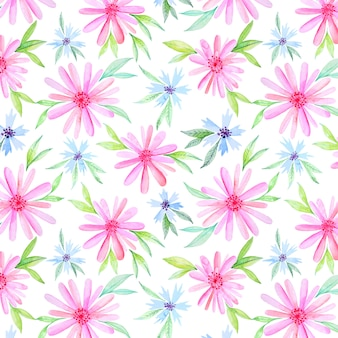 Pink and blue watercolor flowers pattern