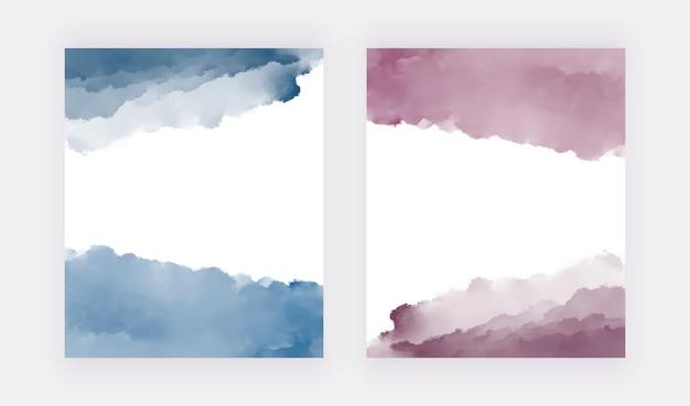 배너 카드 초대장 핑크와 블루 수채화 텍스처 벡터 디자인 배경