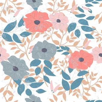 ピンクと青の野生の花のシームレスなパターン