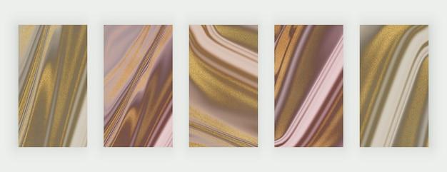 Розовые и коричневые золотые блестящие жидкие мраморные фоны для социальных сетей
