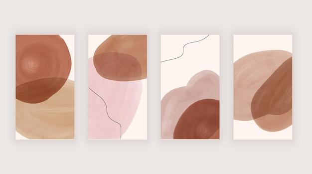 소셜 미디어 스토리를위한 분홍색 및 갈색 수채화 배경