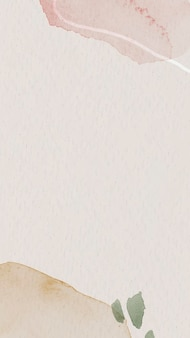 분홍색과 갈색 수채화 무늬 휴대폰 벽지 템플릿 벡터