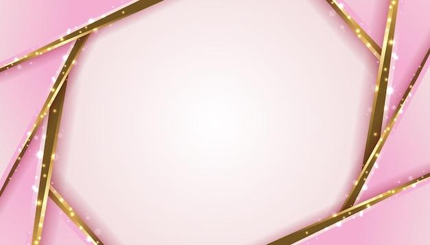 ピンクとゴールドの幾何学的なペーパーカットの背景イラストテンプレート