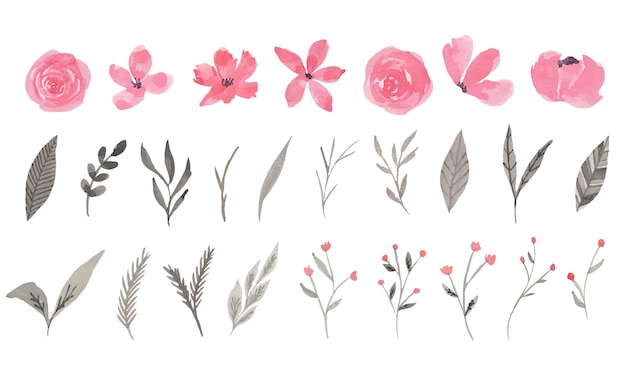 분홍색과 회색 꽃 수채화 클립 아트