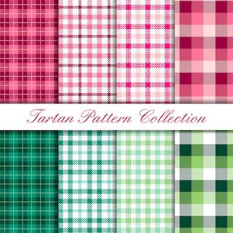 타탄 버팔로 패턴 세트의 핑크와 그린 컬렉션