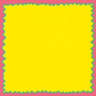 黄色の背景とピンクと緑のフレーム