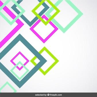 ピンクと緑の正方形の背景を概説しました