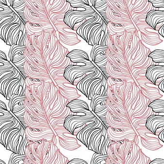 Орнамент монстера розового и темно-синего цвета. изолированная печать. контурный орнамент. декоративный фон для тканевого дизайна, текстильный принт, упаковка, обложка. векторная иллюстрация.