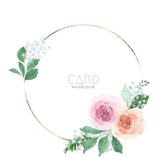 ピンクとオレンジ色のバラの花束水彩花柄サークルフレームに手描き。