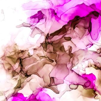 ピンクと桃の色合いの水彩背景、ぬれた液体、手描きの背景水彩テクスチャ