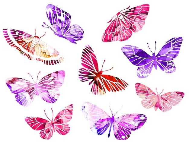 Розовые и фиолетовые абстрактные акварельные бабочки