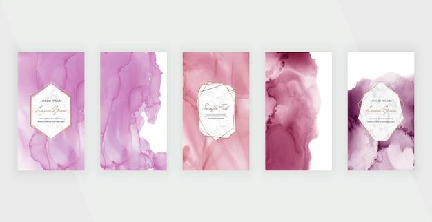 ソーシャルメディアストーリーバナーのピンクと紫の水彩アルコールインクの背景