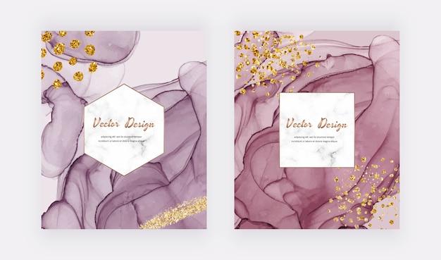 ゴールドのキラキラテクスチャのピンクと赤のアルコールインク、幾何学的な大理石のフレームの紙吹雪カード。モダンな抽象的な水彩デザイン。