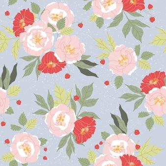 ピンクと赤の牡丹のシームレスなパターン。