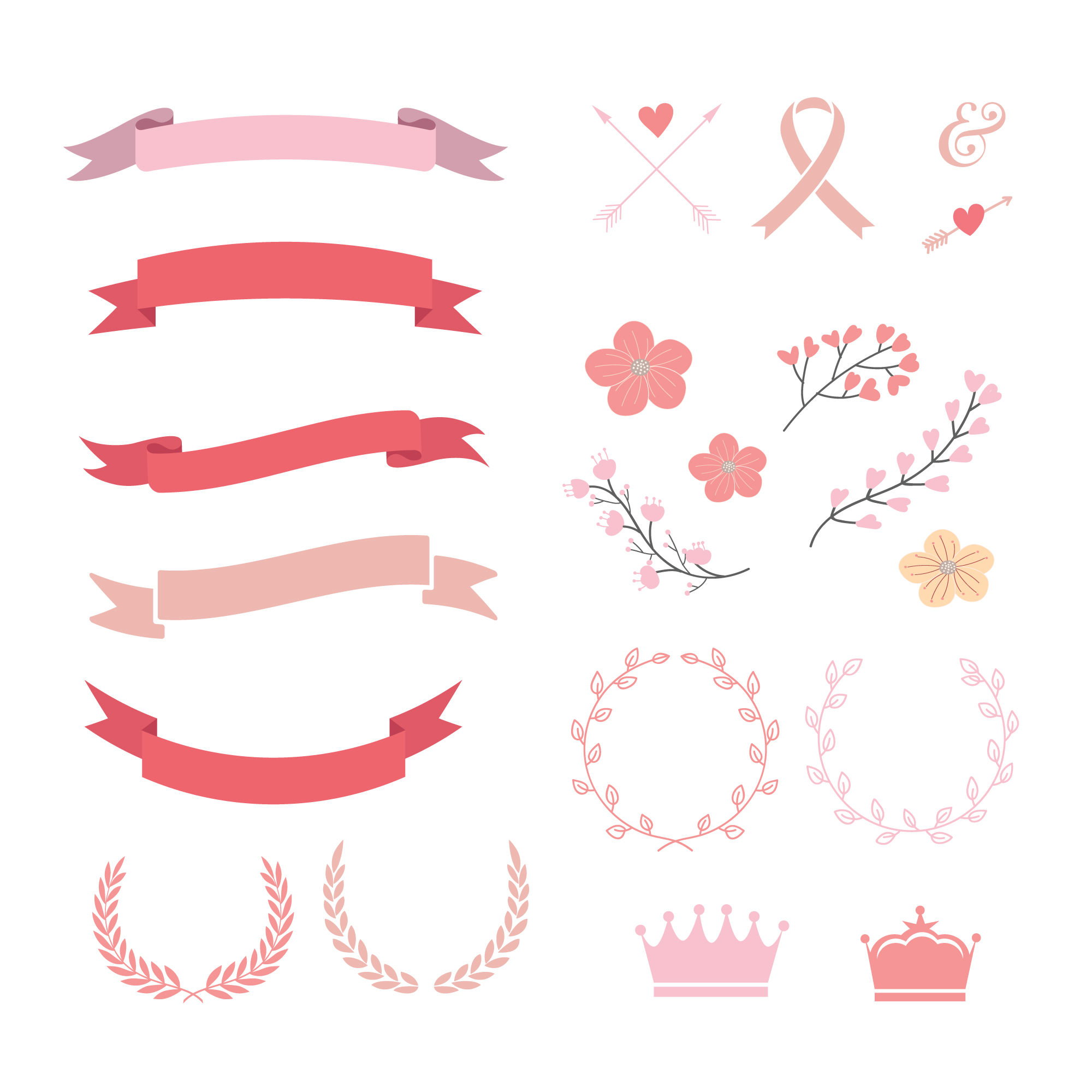 Pink and red ribbons collection