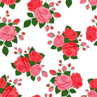 분홍색과 빨간 장미 완벽 한 패턴입니다.