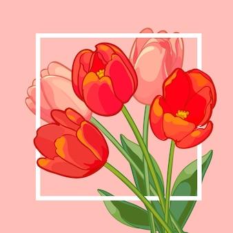 ピンクの背景にピンクと赤のチューリップの花束。