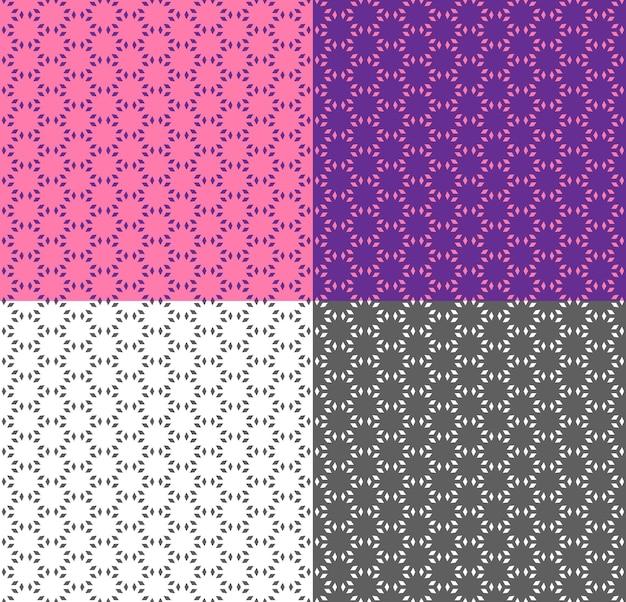 민족 스타일의 분홍색과 보라색 원활한 기하학적 패턴입니다. 벡터 흑백 배경입니다. 벽지, 포장, 직물 인쇄, 배경, 직물에 대한 다각형으로 텍스처를 반복합니다. 색상 반전.