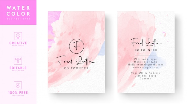 ピンクと白の抽象的な名刺テンプレート-水彩名刺