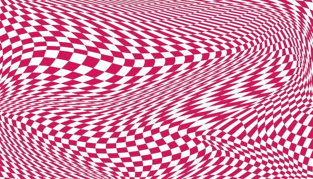 분홍색과 흰색 왜곡된 체크 무늬 배경