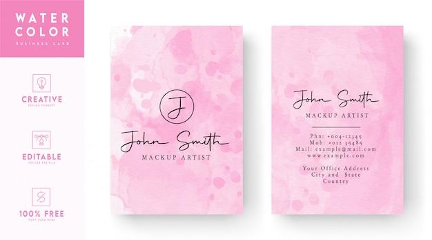 ピンクと白の混合水彩名刺