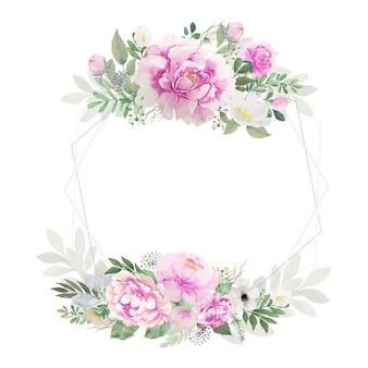 Букет розовых и белых роз и листья ветки акварель с розовой шестиугольной рамкой