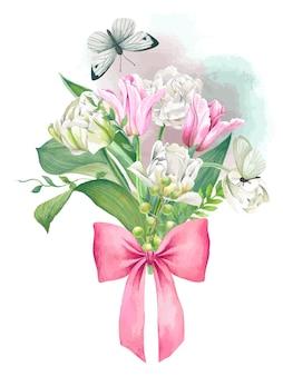 弓とピンクと白のチューリップの花束