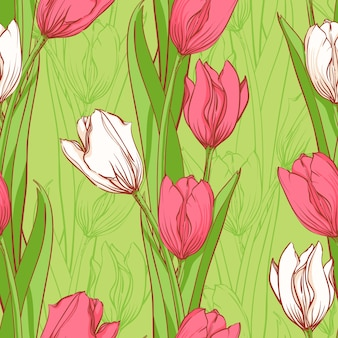 Розовые и белые тюльпаны