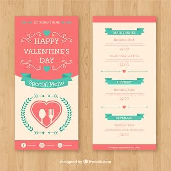 Шаблон меню из розового и белого валентина