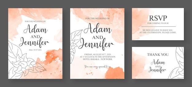 분홍색과 흰색 결혼식 초대 카드 프리미엄 템플릿-수채화 초대 카드