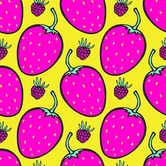 딸기와 분홍색과 노란색 배경입니다. 원활한 벡터 패턴