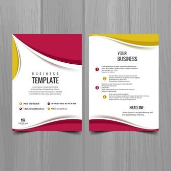ピンクと黄色のパンフレットのデザイン