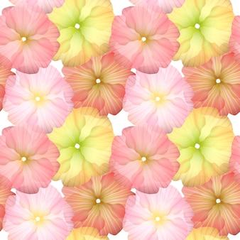 ピンクと黄色の花のシームレスなパターン