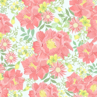 緑の葉のパターンを持つピンクと黄色の花。