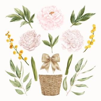 Розовые и желтые цветы, пион и весенние цветы мимозы с зелеными листьями, соломенный горшок, лента, лук