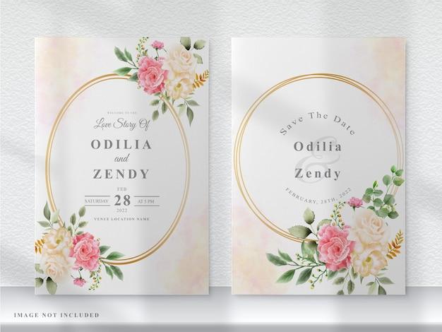 ピンクと黄色の花の結婚式の招待カード